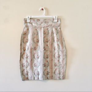 Vintage metallic floral pencil skirt straight 9 10